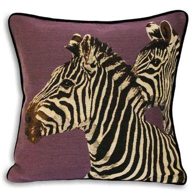 A Jacquard textured cushion with twin zebra print design.