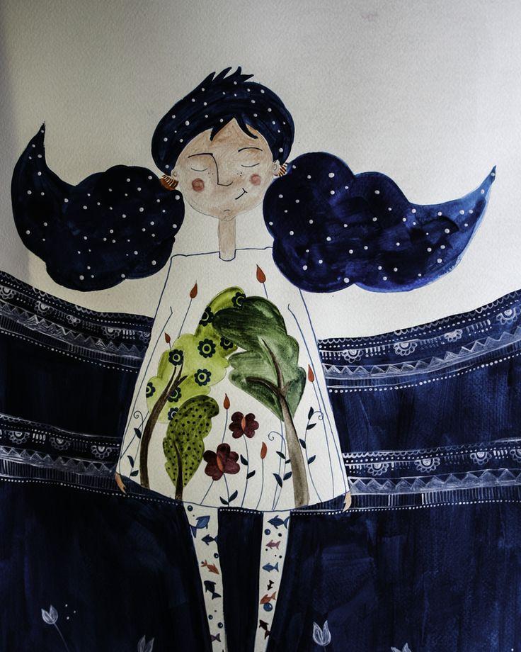 #aquarell #aquarelle #watercolorpainting #watercolor #watercolorart #illustration # childrensbook #blue # girl # nature #zen  #illustration #flowers #tree #water #fish #