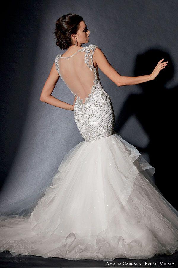 amalia carrara eve of milady 2015 wedding dress style 334 cap sleeve mermaid gown intricate embellished bodice illusion back