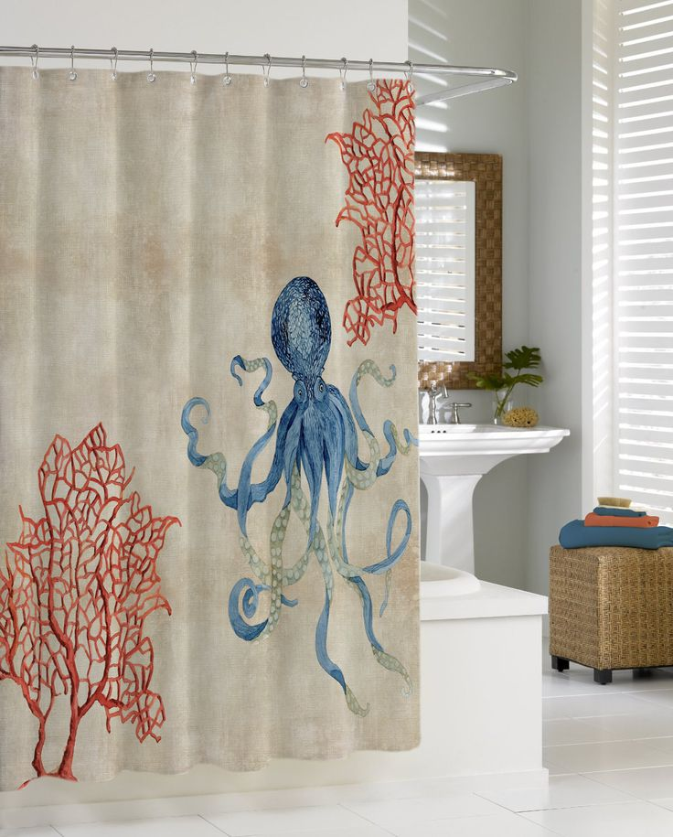 Indigo Ocean Parchment Red Fan Coral Blue Octopus Shower Curtain Watercolors Indigo And Artworks