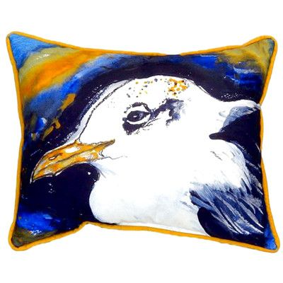 "Betsy Drake Interiors Gull Portrait Left 24"" Indoor/Outdoor Lumbar Pillow"