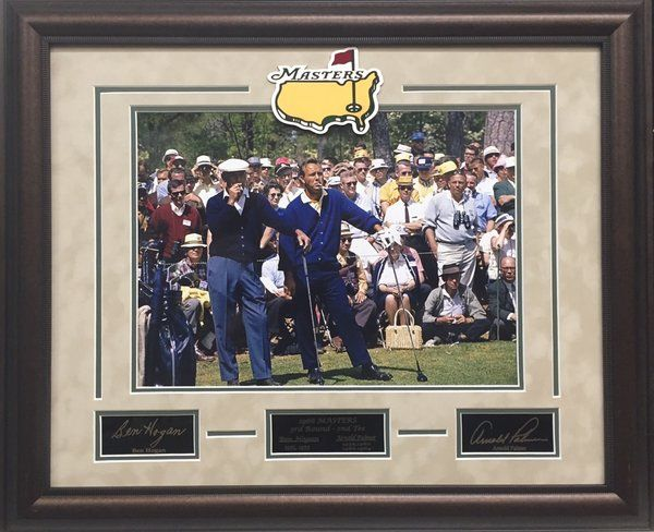 Ben Hogan and Arnold Palmer 11x14 Photo with Engraved Autographs - Arnold Palmer and Ben Hogan smoking at the 2nd tee at 1966 Masters Tournament - Engraved matboard Masters logo with engraved autographs and Masters Plate - Overall framed size 19x23 $99 FREE SHIPPING ON ALL ORDERS #ArnoldPalmer #Palmer #BenHogan #Hogan #golf #PGA #Masters #APInv #Masters #Masters1966 #iconmemorabilia #iconsandlegendsmemorabilia #framedart #memorabilia #sportsmemorabilia #golfmemorabilia #freeshipping