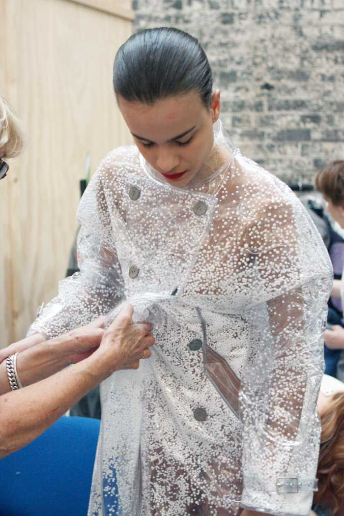 PVC coat with tiny polystyrene balls trapped in clear plastic; innovative textiles for fashion design // Aisling Farrell