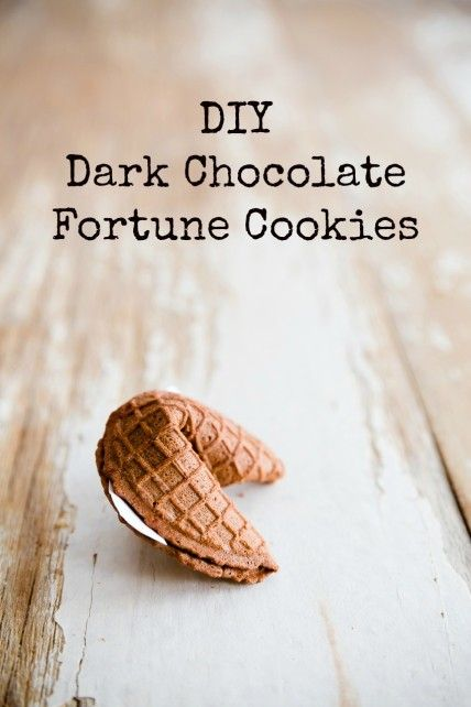Chocolate fortune cookies - thinking a pizelle maker would work as well as the mini cone maker...