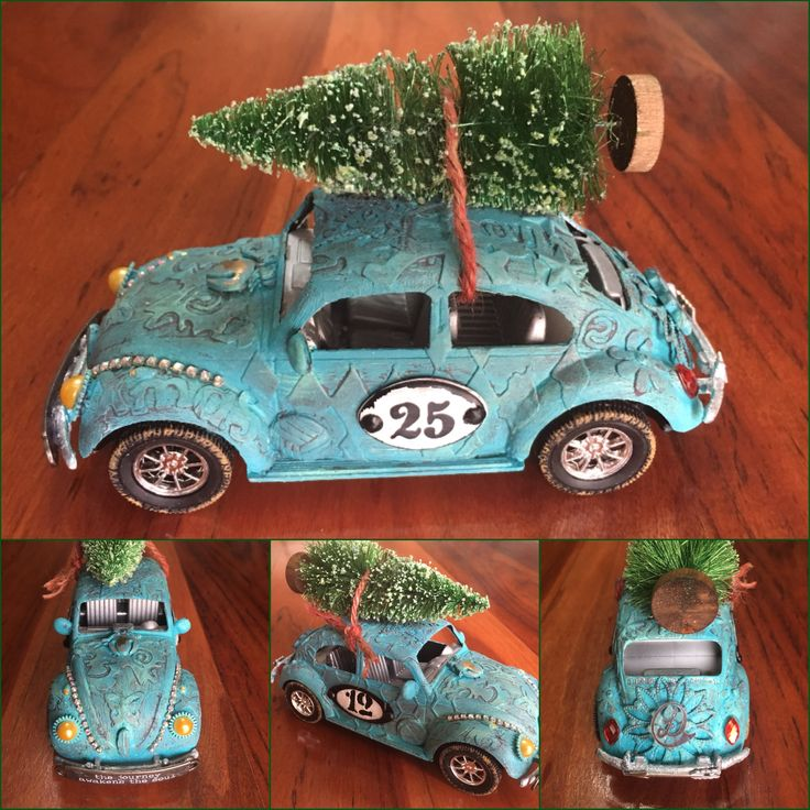 Altered VW Christmas Bug.  I am entering this in the Frilly and Funkie Christmas in July Challenge at http://frillyandfunkie.blogspot.co.za/2017/07/christmas-in-july.html
