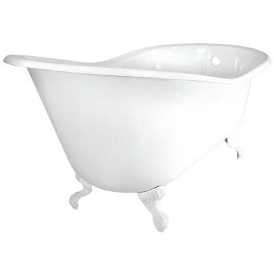 Slipper Cast Iron Tub Less Faucet Holes In White With Ball And Claw Feet In  Polished Brass, White/Polished Brass Feet