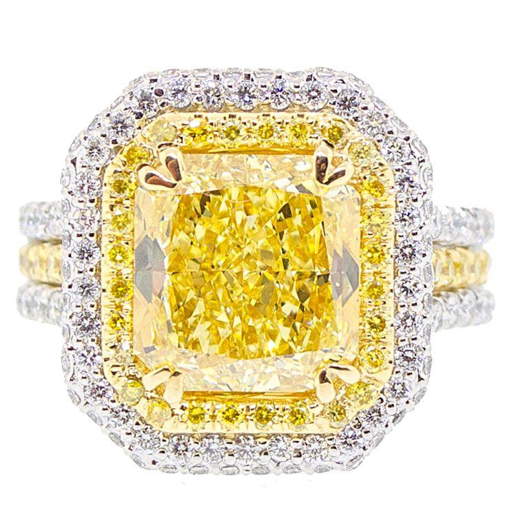 4 Carat Natural Fancy Intense Radiant Cut Diamond Ring
