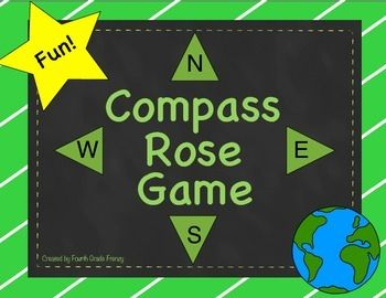 Compass Rose Game-Your students will love this compass rose game that gets them up and moving while learning map skills! Use it as part of your map skills unit or as a brain break throughout the year. 11 pages --$1.50