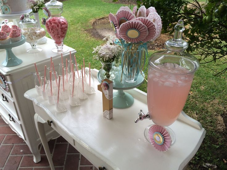 Drink Station decorated with doilies and rosettes by Sweet Soirees (www.sweet-soirees.com.au)
