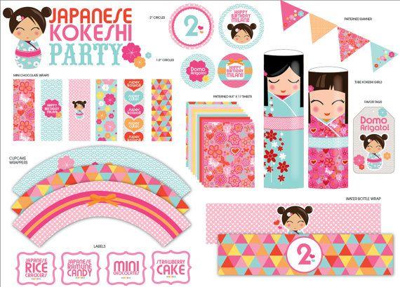 Japanese KOKESHI Doll PartyPackCupcake wraps by SWEETSDESIGNED, $45.00