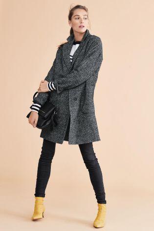 Black/White Textured Coat