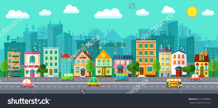 Vector City Street In A Flat Design And Set Of Urban Buildings - 274358849 : Shutterstock