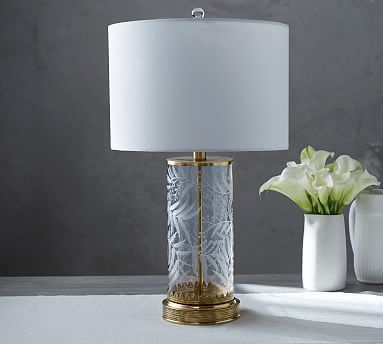 Elodie Bedside Lamp - Base is made of mouth blown glass w/ etched fern design, metal w/ antique brass finish, white shade not included. Transitional lamp, modern lamp, traditional lamp -- could fit in all three settings