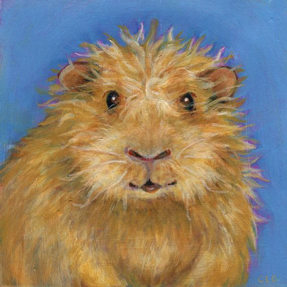 Goldie the Guinea Pig Oil Painting by CarolOgdenArt on Etsy