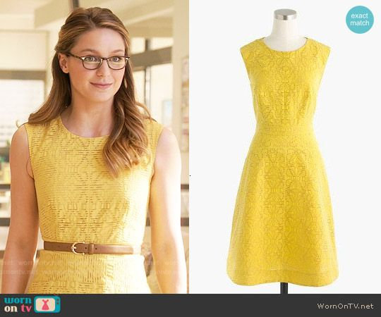 Kara's yellow textured dress on Supergirl.  Outfit Details: https://wornontv.net/56742/ #Supergirl