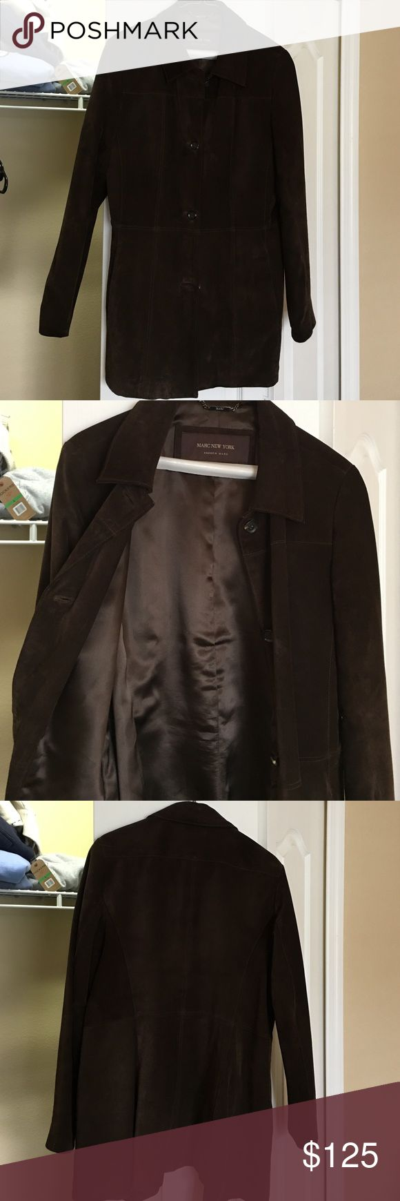 ANDREW MARC NEW YORK-DARK BROWN SUEDE JACKET Beautiful Andrew mark New York brown suede jacket, perfect condition. Two pockets, beautifully lined, but in Bloomingdale's Andrew Marc Jackets & Coats