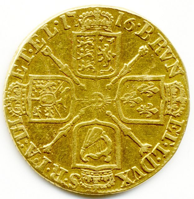I have a full Pirates chest of these little babies... 1716 KING GEORGE I GOLD FULL GUINEA COIN.