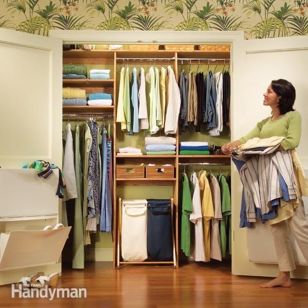 Closet organization a simple shelf and rod system for Simple closet shelves