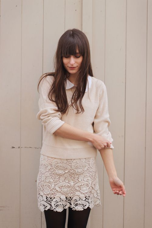 Preppy up top, lace skirt, black tights