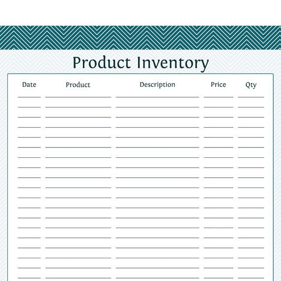 product inventory business planner printable pdf cards