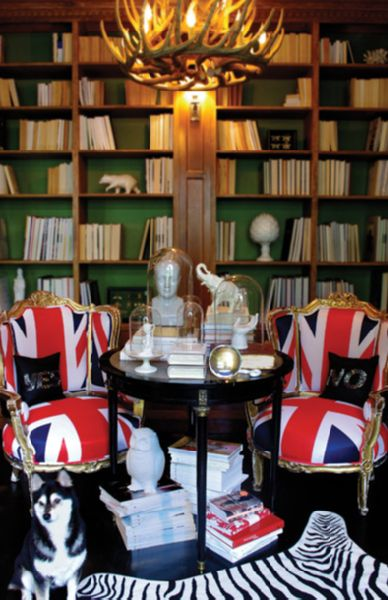booksLibraries, British, Green Wall, Jack Chairs, Zebras Rugs, Unionjack, Bookcas, Jack O'Connel, Union Jack