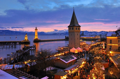 The beautiful Christmas Market in Lindau, Germany - along the eastern shore of Lake Bodensee (aka Lake Constance), part of Bavarian Swabia and located very close to Austria and Switzerland.