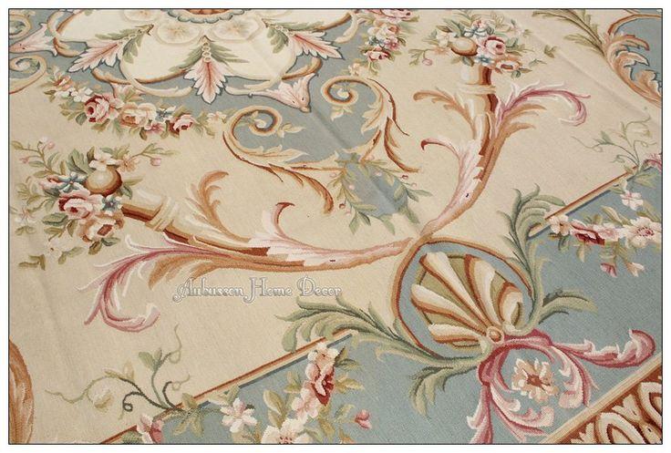 8x10 Pastel Blue Ivory Pink Aubusson Area Rug Vitray