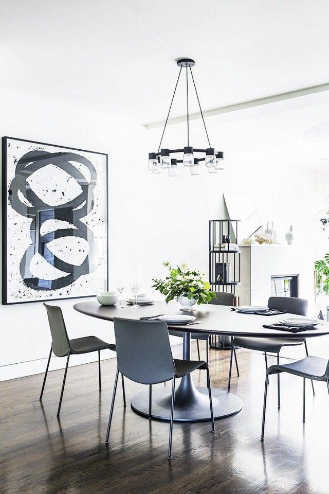 "The designer tells us her ""primary aesthetic goal was to complement the client's existing art collection,"" which includes concentric abstract black-and-white worked by celebrated..."