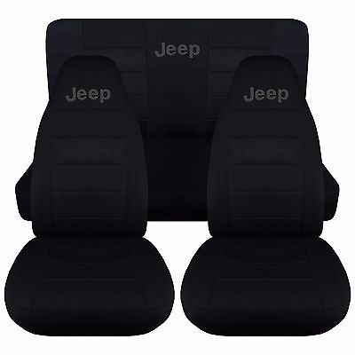 1987-2002 Jeep Wrangler Two Tone w Design Front & Rear Seat Covers/Choose COLOR