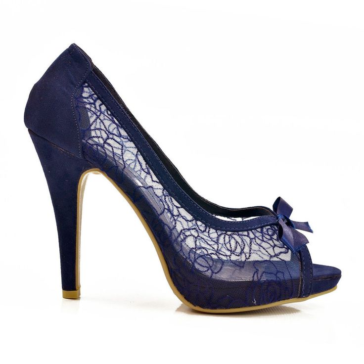 New Navy Blue Lace Peep Toe High Heel Stiletto Court Shoes Size in Clothes, Shoes & Accessories, Women's Shoes, Heels | eBay