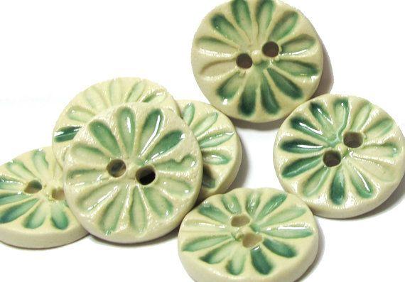 Handmade Ceramic Stoneware Button - Pale Green Flower