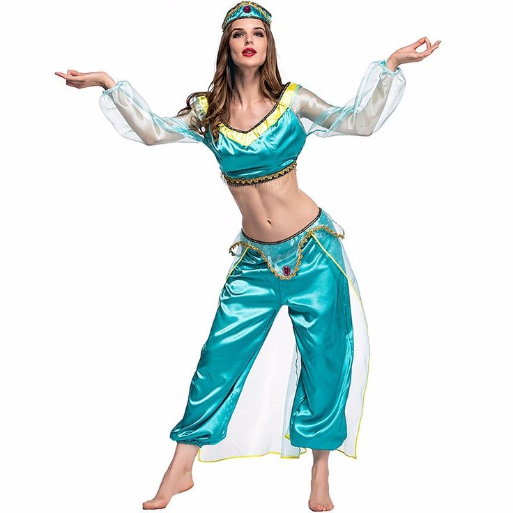 Aladdin's Lamp Woman Jasmine Princess Costumes Cosplay For Ma'am Halloween Party Belly Dance Dress Indian Princess Costume