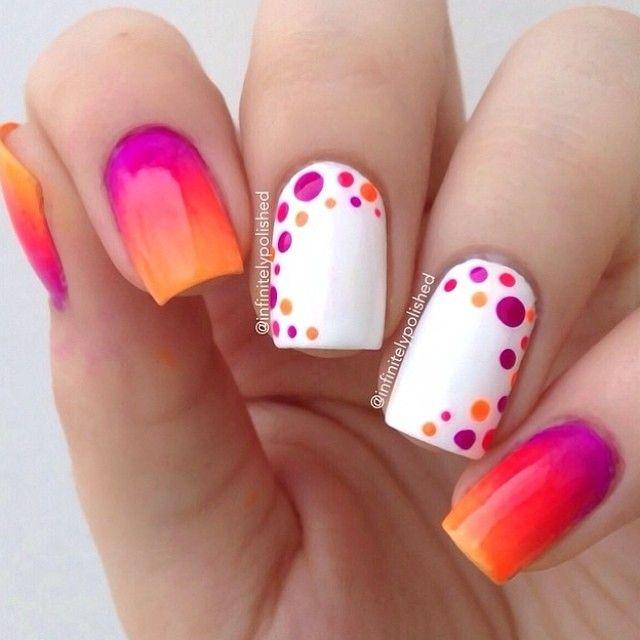 #nailart Orange dots #nails by #@infinitelypolished