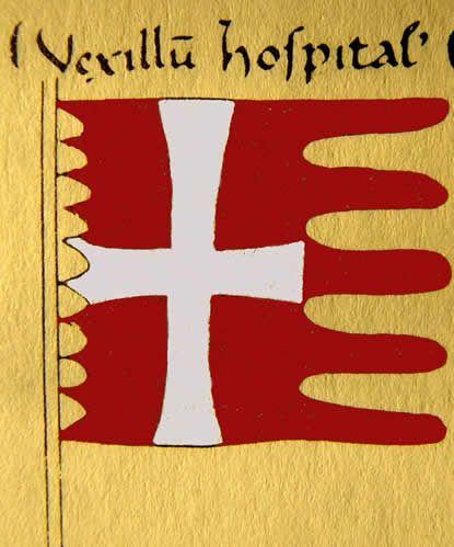 Lorsque, en 1259, le Pape Alexandre IV autorise les chevaliers Hospitaliers à porter un surcot rouge à croix blanche, il fait clairement allusion à la bannière de l'Ordre : « in vestri vexilli modum assuta » (les couleurs qui sont celles de votre bannière).