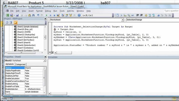 Excel VBA Basics #21 Put VLOOKUP info in StatusBar using ...