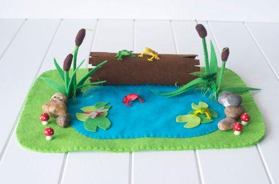 Frog Pond Play Mat Felt Playscape Small World Felt Play Mat