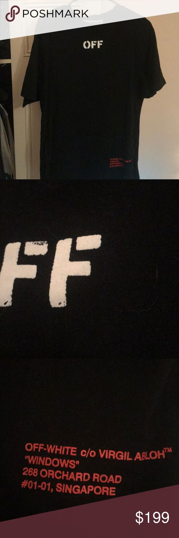 OFF WHITE WINDOWS T  Off white windows T shirt! Bought from Barney's warehouse, fire shirt!! Worn a few times and always taken care of. Shirt is an off white staple with the signature arrows on the back. 100% Real. All offers acceptable, need gone ASAP. I have tags for authentication purposes but I collect them so I would like to hang on to them! Off-White Shirts Tees - Short Sleeve