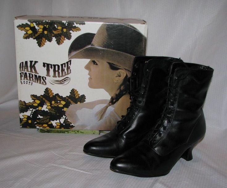 Oak Tree Farms Veil Victorian/Steampunk style Granny Boots: size 8.5 Black #OakTreeFarms #VictorianSteampunkstyle #Casual