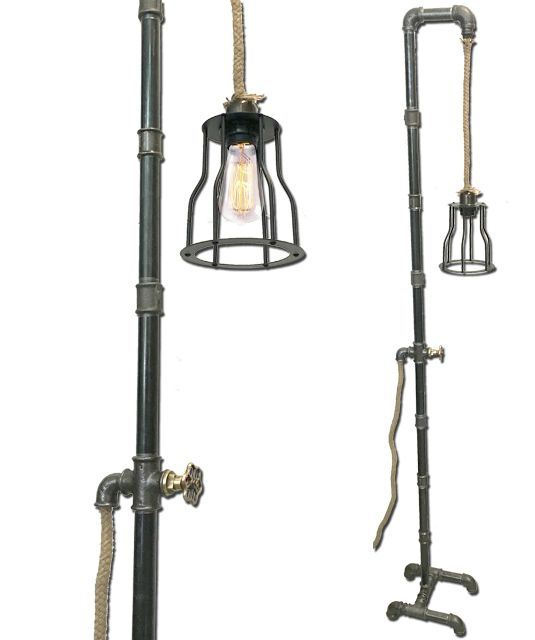 Φωτιστικό εδάφους industrial - Μεταλλικοί σωλήνες - σχοινί  -Κλουβάκι καπέλο   Vintage floor lighting - Handcrafted - Metal Pipes -Lampadari