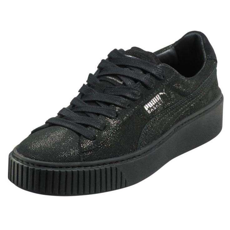 Puma Women's Basket Platform Reset Casual Shoes, Black