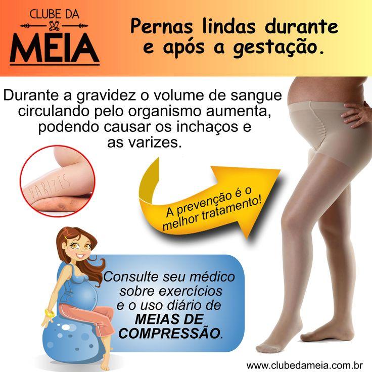 Formas de manter suas pernas saudáveis durante a gestação: ✔ Mantenha-se ativa, pratique exercícios; ✔ Mantenha a perna elevada quando deitada; ✔ Faça uso diário de meias de compressão.