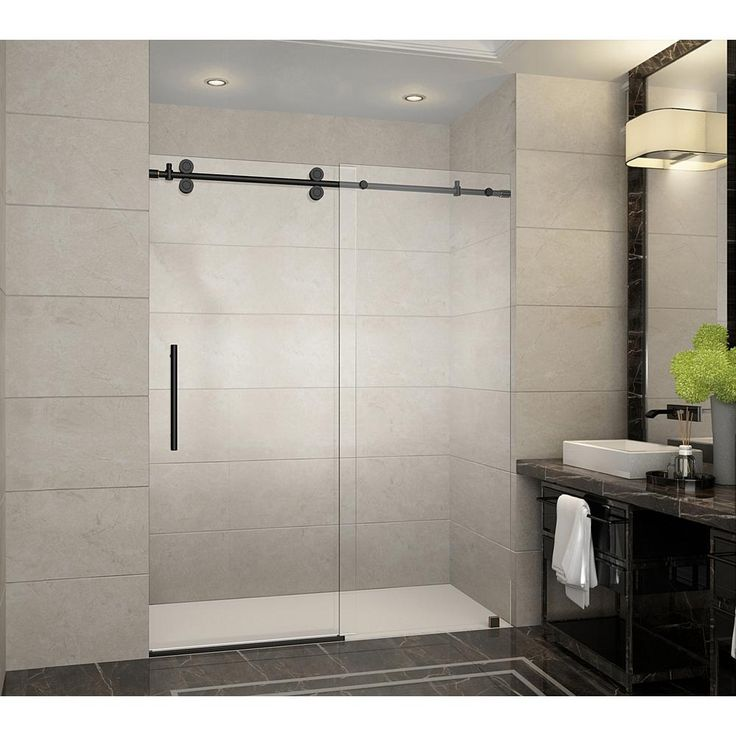Aston Langham 60 in. x 75 in. Frameless Sliding Shower Door in Oil Rubbed Bronze with Handle