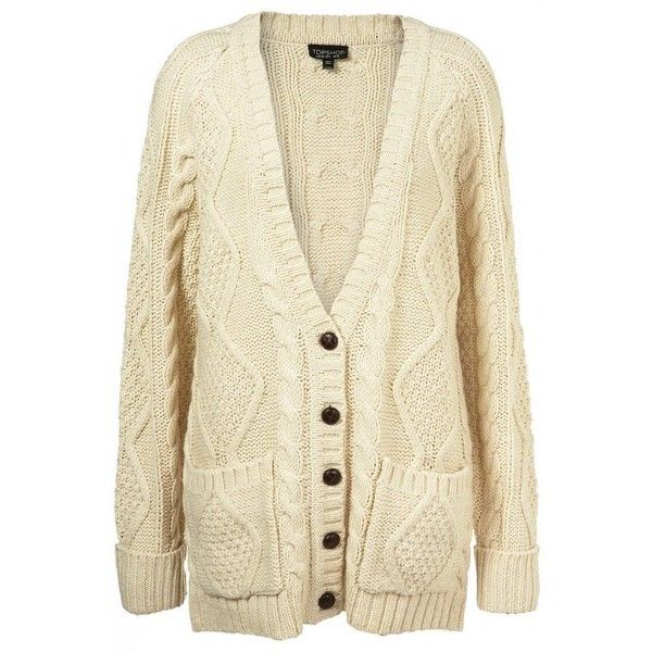 Chunky Knits- Hell Yeah ❤ liked on Polyvore featuring tops, cardigans, sweaters, cream, jackets, knit, beige cardigan, chunky knit cardigan, cream cardigan and cream knit cardigan