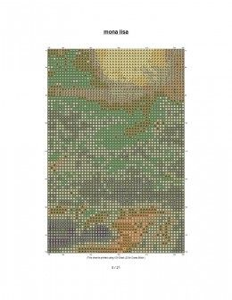 Large free cross stitch pattern of the painting, Mona Lisa.