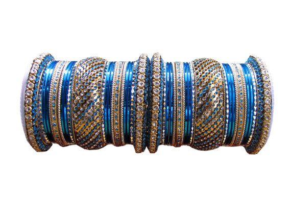 "2.8"" Sky Color Indian #Designer #Bangles Gold Color by Shoppingover"