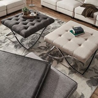 Solene X Base Square Ottoman Coffee Table - Chrome by INSPIRE Q - Free Shipping Today - Overstock.com - 20158059 - Mobile
