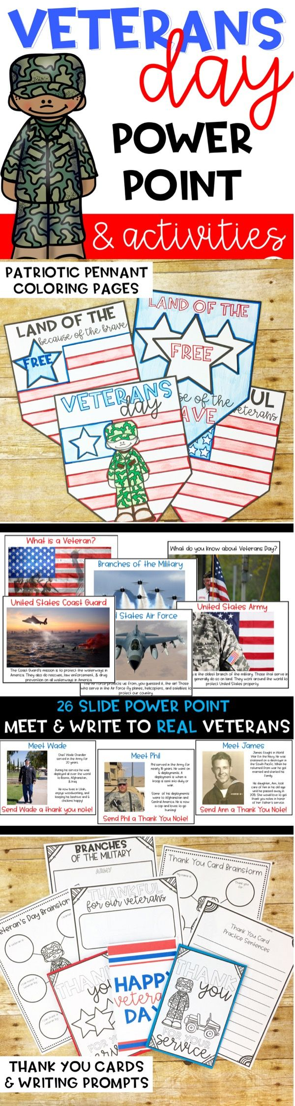Veterans Day Power Point & Activities for Elementary and middle school.