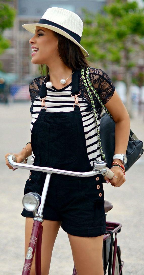 River Island Black And White Stripe Contrast Lace Shoulder Summer Women's Tshirt by TamaraChloéStyleClues