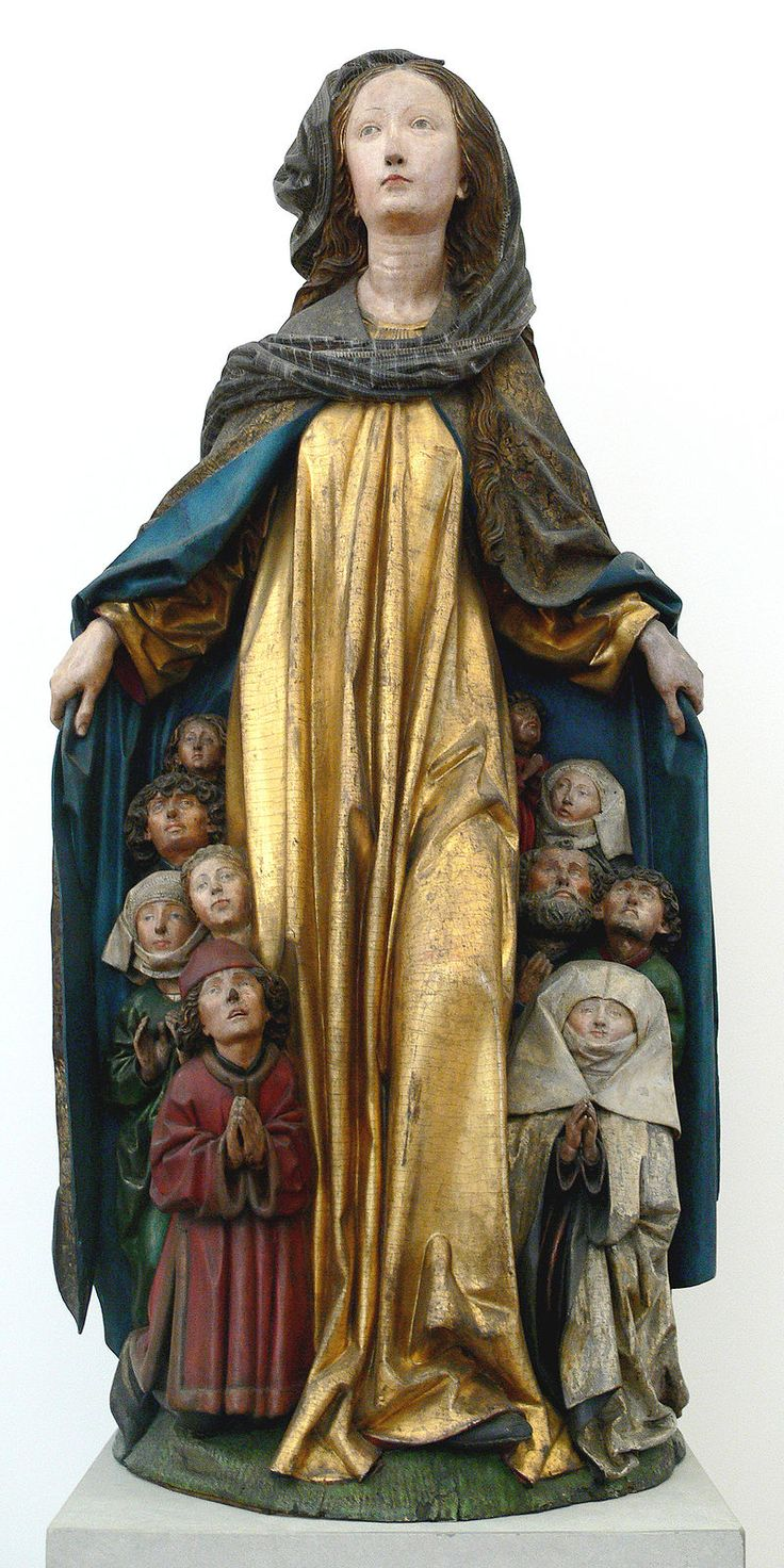 Ravensburger Schutzmantelmadonna - Virgin of Mercy, showing a group of people sheltering for protection under the outspread cloak, or pallium of the Virgin Mary.