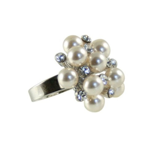 Glamorous and eye-catching pearl and Swarovski clear crystal rhodium-plated adjustable ring.